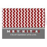 Tarjeta gris roja de las Felices Navidad de la abu