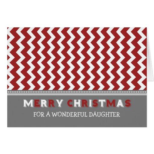 Tarjeta gris roja de las Felices Navidad de la hij