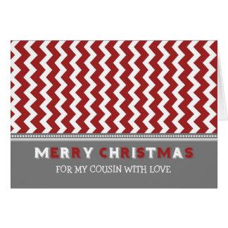 Tarjeta gris roja de las Felices Navidad del primo