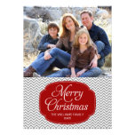 Tarjeta gris roja moderna de la foto del navidad d anuncios