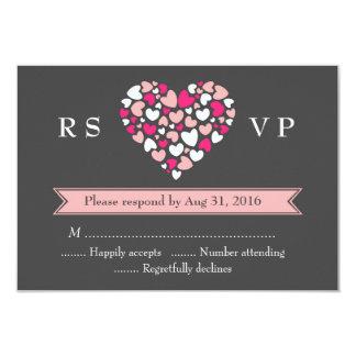 """Tarjeta gris rosada de RSVP que se casa con amor y Invitación 3.5"""" X 5"""""""