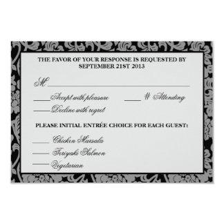 Tarjeta gris y negra del Flourish gótico de la Invitación 8,9 X 12,7 Cm