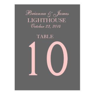 Tarjeta gris y rosada elegante del número de la tarjetas postales