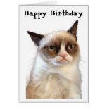Tarjeta gruñona del feliz cumpleaños del gato