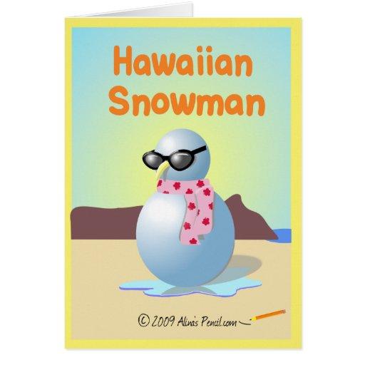 Tarjeta hawaiana adaptable del muñeco de nieve