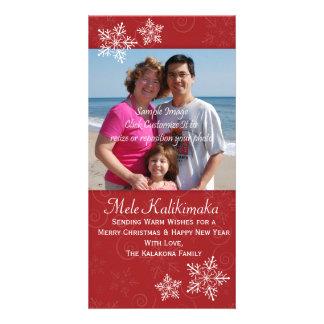 Tarjeta hawaiana de la foto del copo de nieve del  plantilla para tarjeta de foto