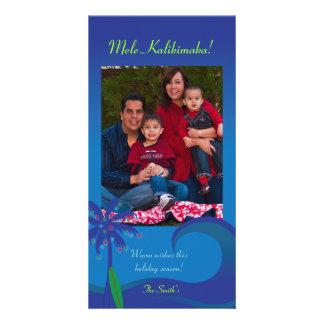 Tarjeta hawaiana de la foto del navidad de la resa tarjetas personales con fotos