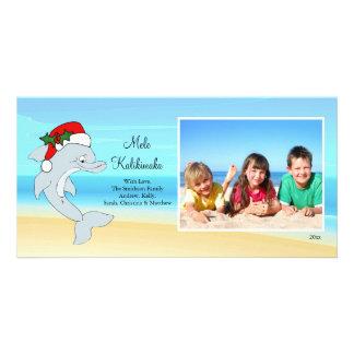 Tarjeta hawaiana de la foto del navidad del delfín tarjetas con fotos personalizadas