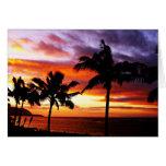 Tarjeta hawaiana de la puesta del sol