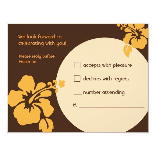 Tarjeta hawaiana de Luau RSVP - hibisco anaranjado Invitación 10,8 X 13,9 Cm