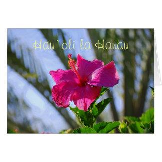 Tarjeta hawaiana del hibisco de las rosas fuertes