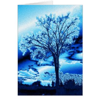 Tarjeta helada azul del árbol (espacio en blanco)