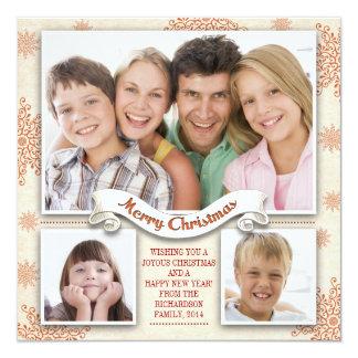 """tarjeta hermosa de la foto de 3 Felices Navidad de Invitación 5.25"""" X 5.25"""""""