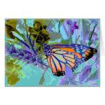 Tarjeta hermosa de la mariposa de los neónes