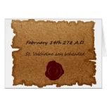 Tarjeta histórica del origen del el día de San Val