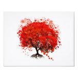Tarjeta hojeada roja de RSVP del árbol del corazón Invitación 10,8 X 13,9 Cm