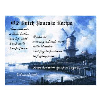 Tarjeta holandesa vieja de la receta de la crepe tarjeta postal