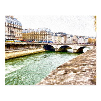 Tarjeta impresionista del estilo de París río Sena Postales