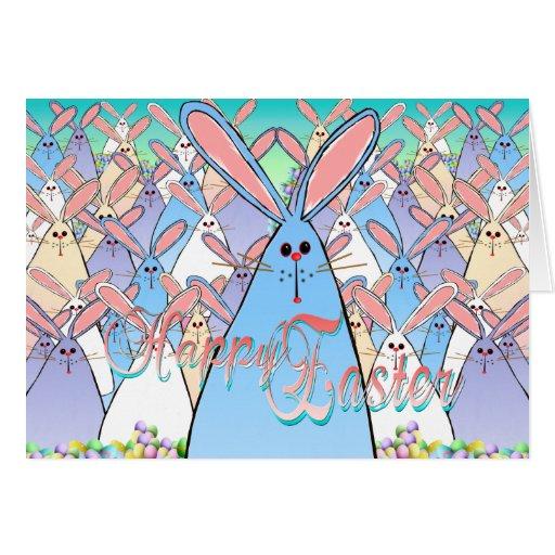 Tarjeta indicada con letras feliz de los conejitos