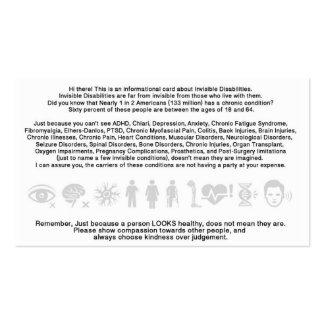 Tarjeta informativa de la incapacidad invisible plantillas de tarjetas de visita