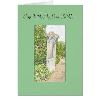 Tarjeta inglesa del jardín - enviada con mi amor a