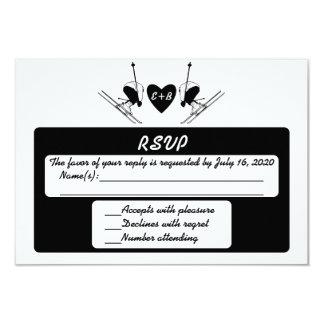 """Tarjeta inicial de encargo de RSVP del esquiador Invitación 3.5"""" X 5"""""""