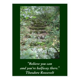 Tarjeta inspirada. Cita por Roosevelt Tarjetas Postales