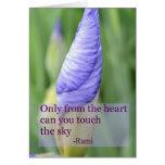 Tarjeta inspirada de la cita de Rumi del iris espi