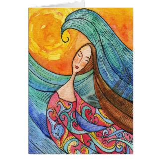 Tarjeta inspirada de la mujer y del mar