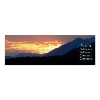 Tarjeta interior del perfil de la puesta del sol tarjetas de visita mini