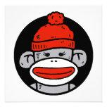 Tarjeta/invitación del mono del calcetín