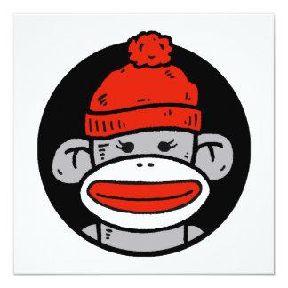 Tarjeta/invitación del mono del calcetín invitación 13,3 cm x 13,3cm