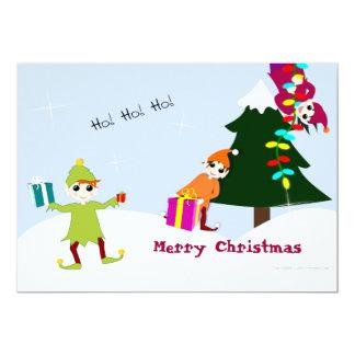 Tarjeta invitación las duendes del Papá Noel