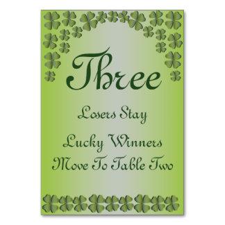 Tarjeta irlandesa afortunada #3 de la tabla del