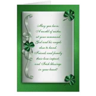 Tarjeta irlandesa de la bendición del día de St Pa