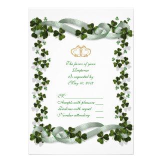 Tarjeta irlandesa de la respuesta del boda de RSVP Invitacion Personalizada