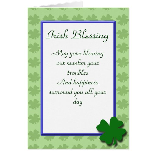 Tarjeta irlandesa de las bendiciones