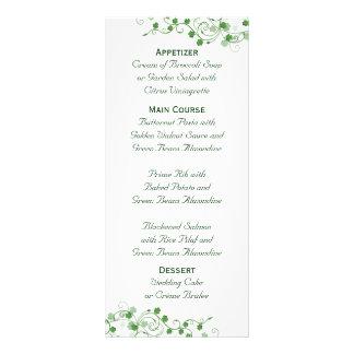 Tarjeta irlandesa del estante del menú del boda de plantilla de lona