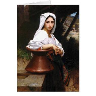 Tarjeta italiana del agua del dibujo del chica de