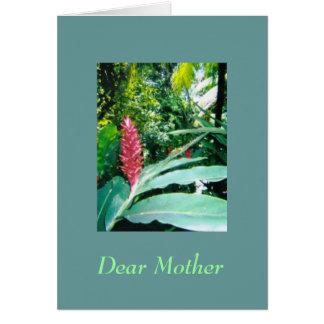 Tarjeta jamaicana del día de madres de la flor