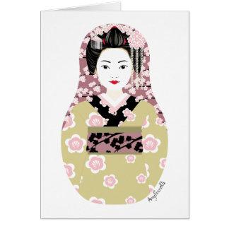 Tarjeta japonesa de Matryoshka del geisha