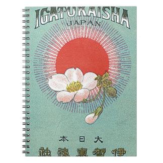 Tarjeta japonesa del comercio de la seda del vinta libro de apuntes