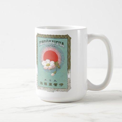 Tarjeta japonesa del comercio de la seda del vinta tazas