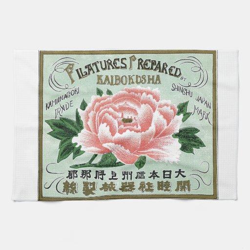 Tarjeta japonesa del comercio de la seda del vinta toalla de mano