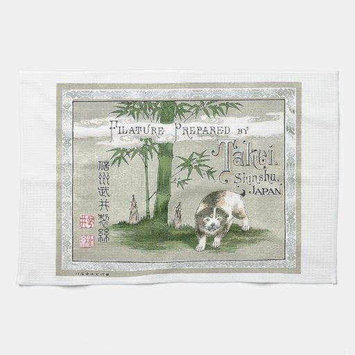Tarjeta japonesa del comercio de la seda del vinta toallas