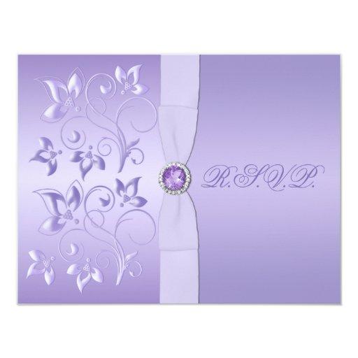 Tarjeta Jeweled floral IMPRESA de RSVP de la Invitación 10,8 X 13,9 Cm