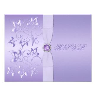 Tarjeta Jeweled floral IMPRESA de RSVP de la lavan Comunicados Personalizados