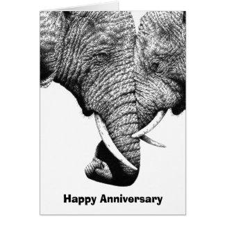 Tarjeta joven del aniversario de los elefantes afr