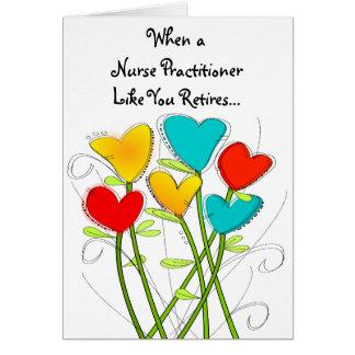 Tarjeta jubilada del médico de la enfermera floral