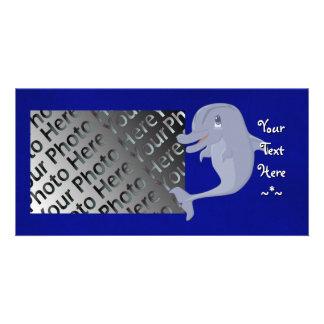 Tarjeta juguetona de la foto del delfín plantilla para tarjeta de foto